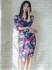 Graceful Flower Printed Long Sleeve Dress