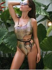 Cut Waist Snake Print One Shoulder One-Pieces Bikinis