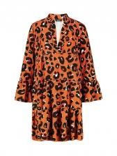 Orange Leopard Print Flared Sleeves Dresses For Ladies