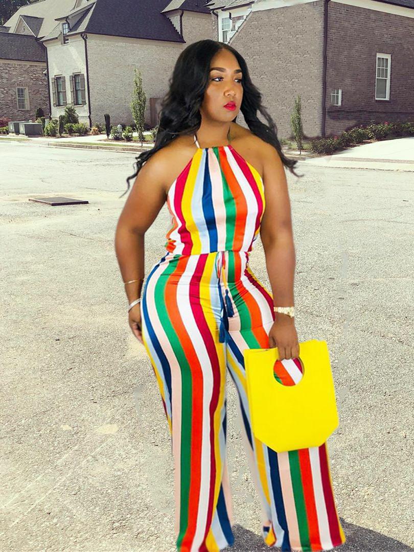 Multicolored Stripe Sleeveless Wide Leg Jumpsuit