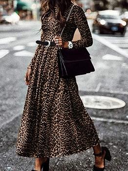 Retro Fashion Casual Leopard Printed Maxi Dress