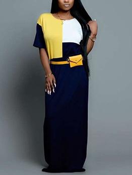 Color Block Crew Neck Short Sleeve Maxi Dress