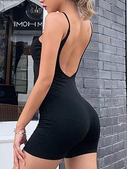 Minimalist Style Plain Black Backless Rompers