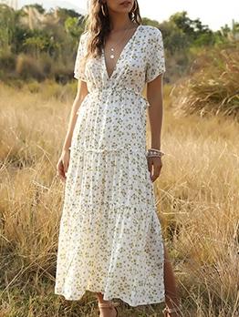Bohemian Ruffle Printed Noble V Neck Maxi Dresses