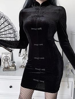Vintage Style Back Zipper Cheongsam Black Dress