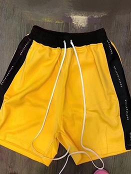 Contrast Color Letter Short Pants For Men