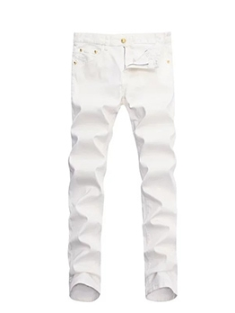 Embroidery Straight Leg White Jeans