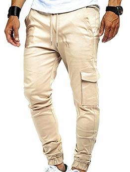 Solid Color Drawstring Cargo Pants For Men