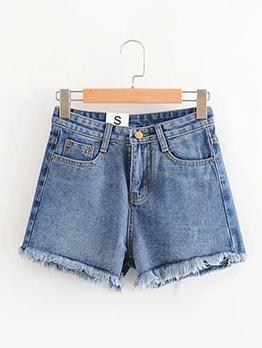 Rough Edges Blue Denim Shorts For Women