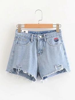 Irregular Cutting Tassel Edges Denim Shorts