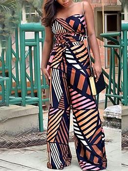 Geometric Print Strapless Wide Leg Jumpsuit