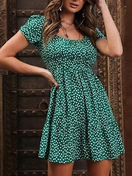 Summer Puff Sleeve Short Floral Dress