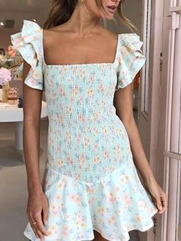 Square Neck Smocked Short Sleeve Floral Dress