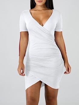 V Neck Asymmetric Hem Summer Dresses