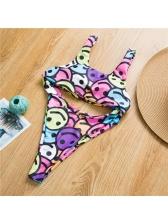 Emoji Print Waist Cut One Piece Ladies Swimwear