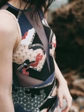 Gauze Patch Zipper Up Print Black Swimsuit