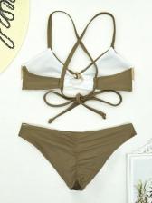 Cross Belt Backless Contrast Color Ladies Swimwear