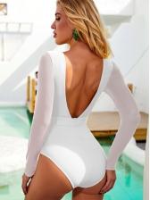 Sexy Deep U Neck Gauze White Long Sleeve Swimsuit