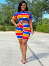 Contrast Color Wide Stripes Two Piece Shorts Set