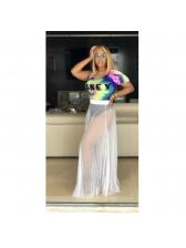 Letter Tie Dye T Shirts With Gauze Maxi Dress