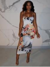 Sexy Printed Backless Sleeveless Dress