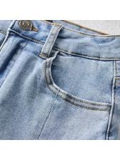 Youthful Elastic High Waist Summer Pencil Denim Skirt