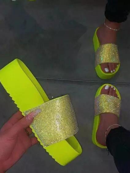 Rhinestone High Platform Open Toe Slippers