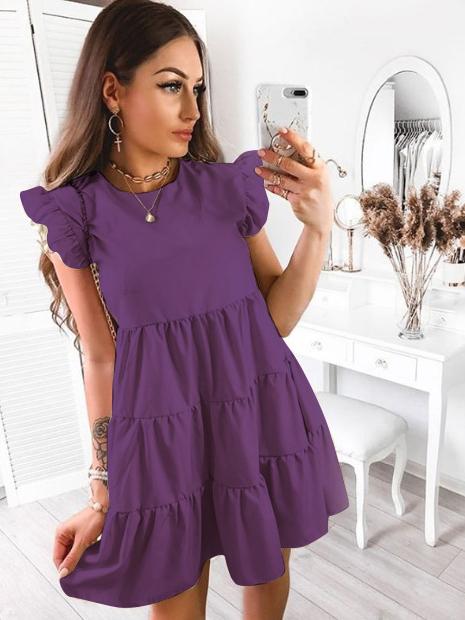 Summer Ruffle Side Sweet Draped Solid Short Dresses