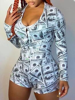 Dollar Print Long Sleeve Onesie Pajamas For Women