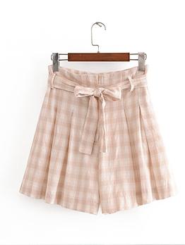 Tie-Wrap High Waist Plaid Short Pants