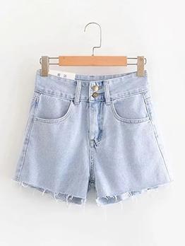 Two Button Light Blue Plain Denim Shorts