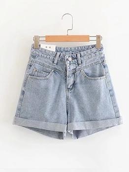 Flanged Edges Solid Color High Waist Denim Shorts