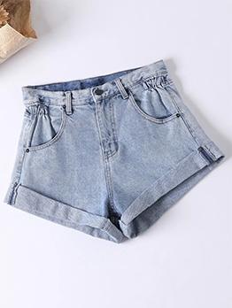 Folded Bottom Easy Matching Summer Short Jeans