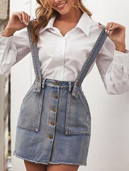 Retro Solid Pockets Women Denim Skirt