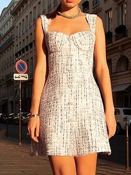 Single-Breasted Plaid Summer Dresses