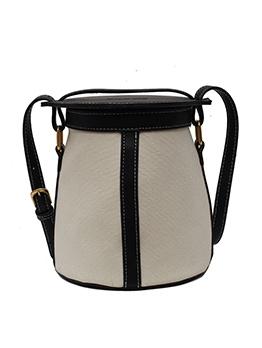 Color Stitching Adjustable Strap Bucket Shoulder Bags