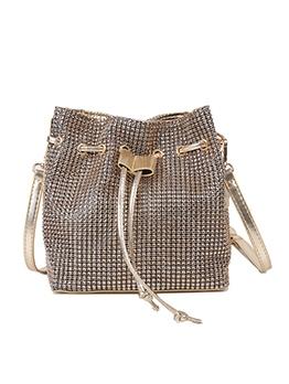 Drawstring Deign Rhinestone Trendy Shoulder Bags