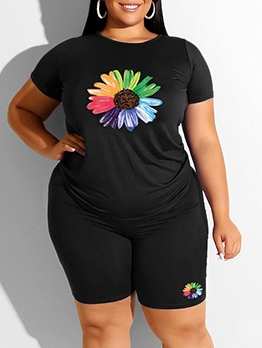 Colorful Daisy Printed Plus Size Womens Tracksuit Set