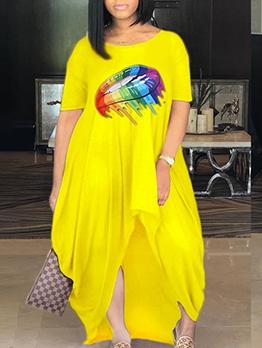 Loose Lips Printed Short Sleeve Maxi Dress