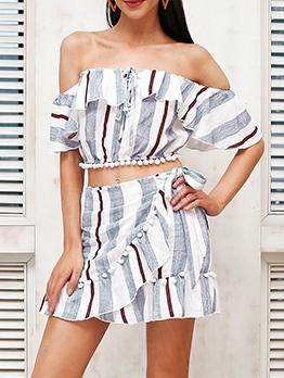 Off Shoulder Striped Pom Pom Edges 2 Piece Set