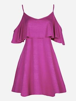Solid Color Ruffled Off Shoulder Summer Dresses