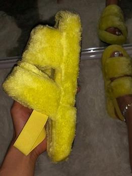Euro Faux Fur Women Comfortable Sandals
