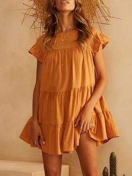 Ruffled Sleeve Pure Color Loose Casual Dress