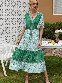 V Neck Short Sleeve Boho Maxi Dress For Vacation