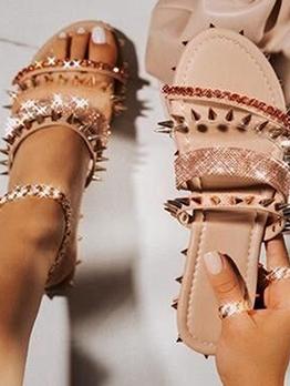 Stylish Rivets Rhinestone Ladies Slippers