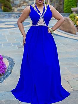 Rhinestone Decor Sleeveless Evening Maxi Dresses