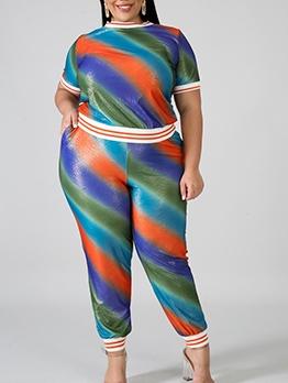 Multicolored Stripes Plus Size Two Piece Pants Set