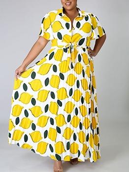 Lemon Pattern Pleated Plus Size Maxi Dresses