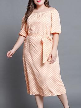 Off Shoulder Polka Dot Tie-Wrap Plus Size Dress
