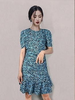 Leopard Print Blue Short Sleeve Fishtail Dress